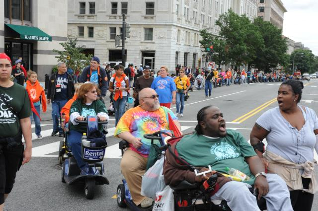 Part of the hundreds of concerned people from over 90 disability, aging and civil rights groups which converged on Washington, D.C., for the My Medicaid Matters rally on Sept. 21.  Photo courtesy of www.ADAPT.org