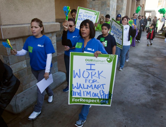 Walmart employees and their supporters strike outside of a Walmart store in Pico Rivera, California on Tuesday November 20, 2012. Photo by AURELIO JOSE BARRERA