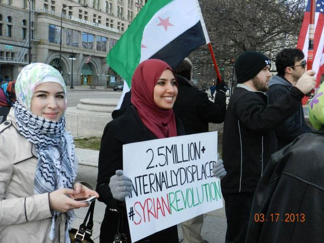 Chicago—The second anniversary of the Syrian Revolution is marked, March 17, 2013. Photo by Roger Beltrami.