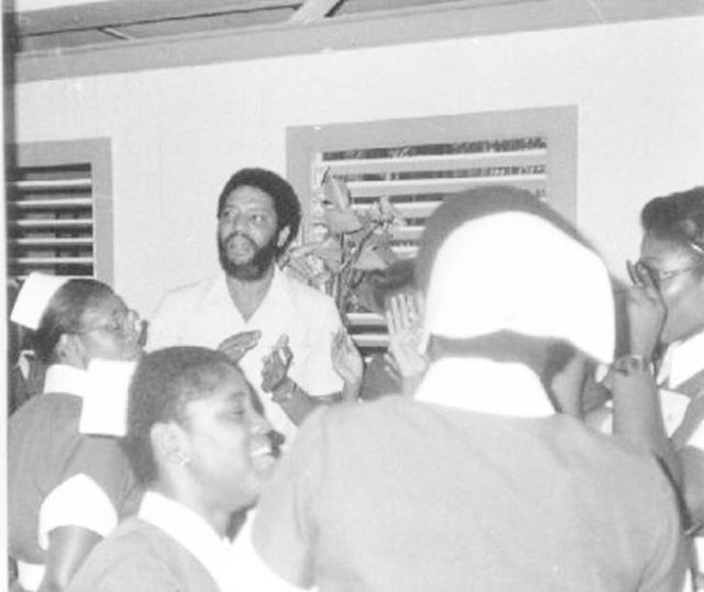 Maurice Bishop meeting with Grenada's healthcare workers