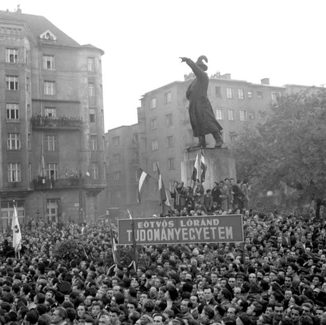 The Oct. 23, 1956, rally in Budapest at the statue of General Bem, a Pole who fought with the Hungarians in the 1848 revolution, expressed Hungarians' solidarity with the striking Polish workers. This rally touched off the Hungarian Revolution.