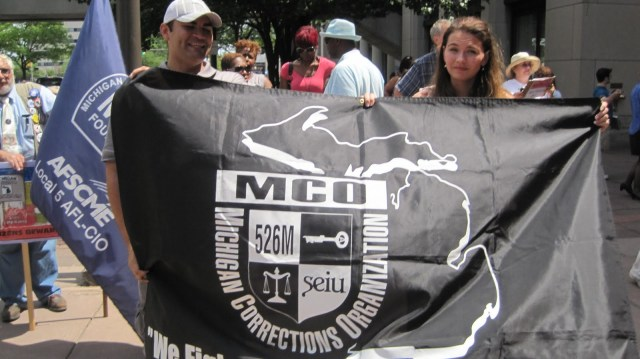 July 2011, Union members protest Michigan's cuts to food services in prisons.