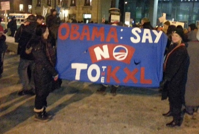 Feb. 3 protest against Keystone XL pipeline in Chicago. Photo by Franklin Dmitryev for News & Letters.