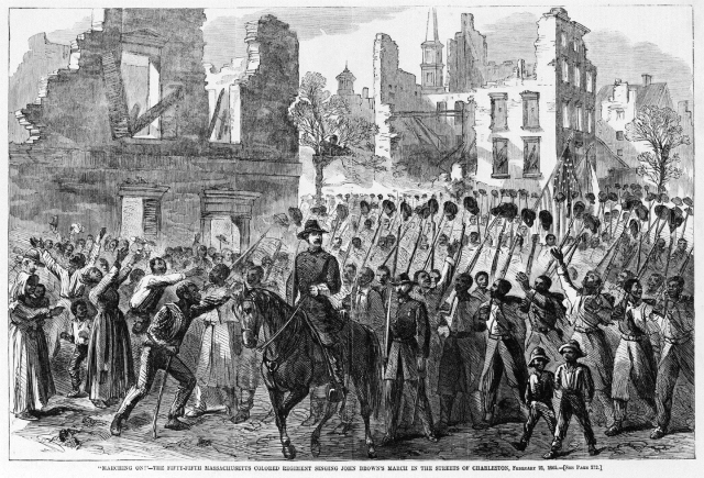 The Fifty-Fifth Massachusetts Colored Regiment singing John Brown's March in the streets of Charleston, S.C., Feb. 21, 1865. They were welcomed as liberators by African Americans filling the streets.