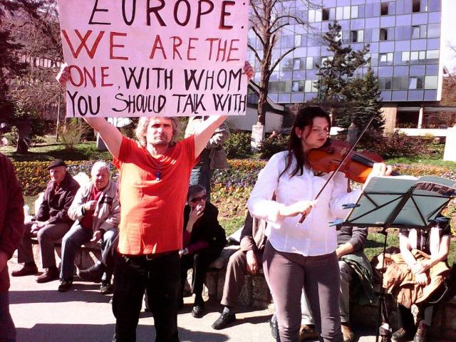 Protest in Sarajevo on March 14, 2014 flickr.com/photos/plenumsarajevo/13152899065/