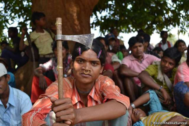 Odisha state, India—Dongria Kondh villagers stop development of bauxite mine on tribal land. Photo by Bikash Khemka/Survival International.
